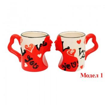 Комплект чаши за влюбени със сърца и лица - Подарък за 14-февруари