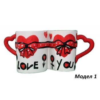 Комплект чаши във формата на сърце - подарък за Свети Валентин