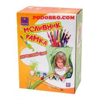 Дървен моливник-рамка за снимка за оцветяване