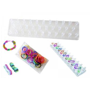 Станче за плетене на гривни и комплект силиконови ластици за плетене