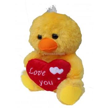 Плюшена играчка пате със сърце – подарък за Свети Валентин