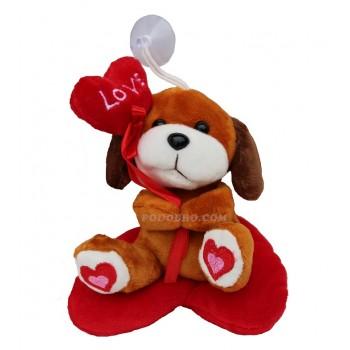 Плюшено кученце върху сърце – подарък за Свети Валентин