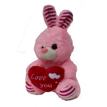 Плюшена играчка заек със сърце – подарък за Свети Валентин