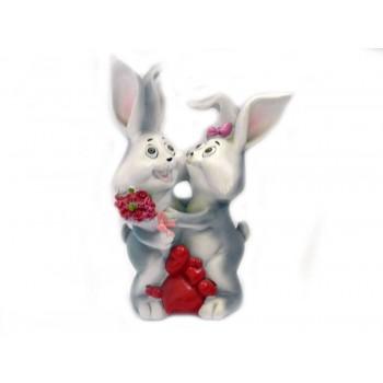 Два заека със сърца - касичка за влюбени