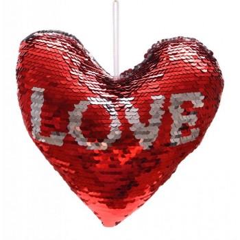 Възглавничка с обръщащи се паети и надпис LOVE