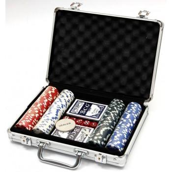 Комплект 200бр. чипове за американски покер с две тестета карти с поставка и 5бр. зарове.