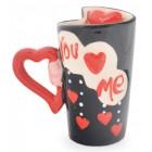Комплект нестандартни керамични чаши с дръжка във формата на сърце