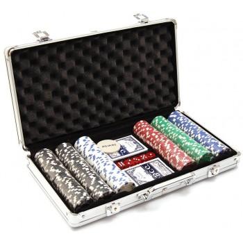 Комплект 300бр. чипове за американски покер с две тестета карти с поставка и 5бр. зарове.